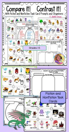 Compare and Contrast It, is a pack of 27 FICTION & NONFICTION task cards with fiction and nonfiction writing organizers (example keys included) for strengthening the compare/contrast reading strategy. This product works for most elementary grade levels but I believe it is best for second through fourth grades.