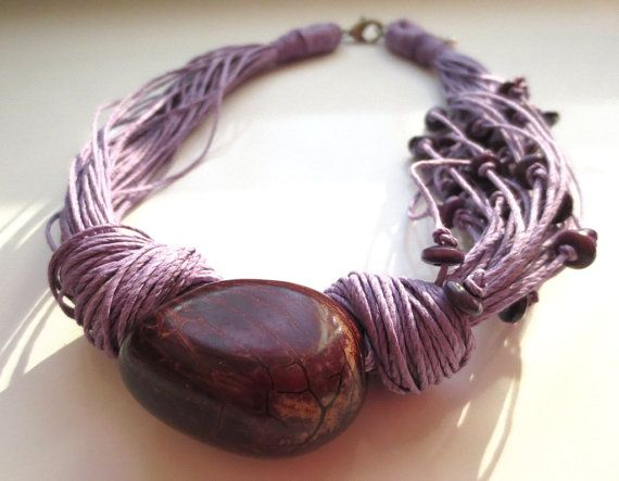 Peony Tagua Nut Lavender Linen Cord Necklace by ArteTeer on Etsy, $28.00
