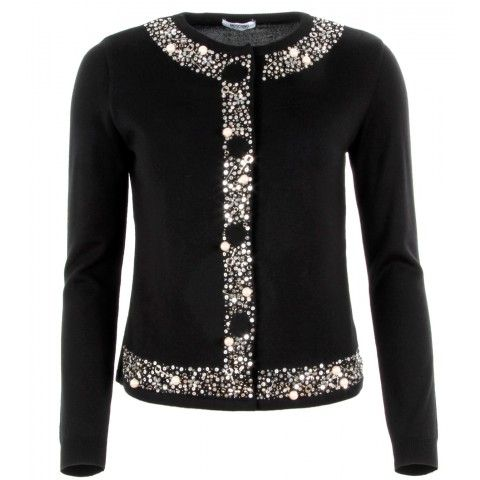 Black Sequin Embellished Wool Cardigan