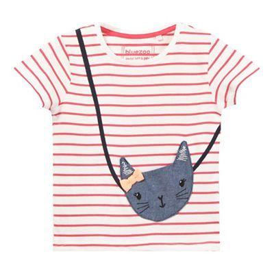 bluezoo Girls' pink stripe kitten applique t-shirt | Debenhams