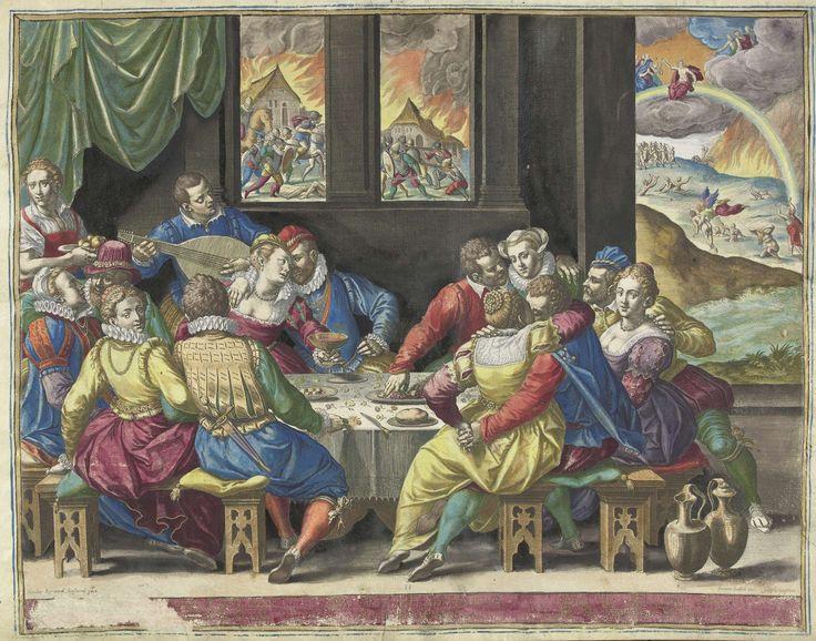 Johann Sadeler (I) | De mensheid wachtend op het Laatste Oordeel, Johann Sadeler (I), 1581 - 1583 | Elegant gezelschap aan gedekte tafel, minnend, etend en drinkend. Een luitspeler zorgt voor muziek. Op de achtergrond, door vensters, een gevecht tussen soldaten en brandende huizen. Rechtsachter het laatste oordeel. Onder de voorstelling een verklarende tekst in het Latijn. Prent maakt deel uit van een album.