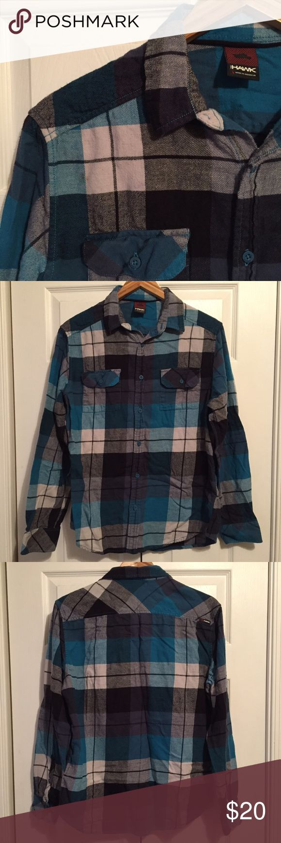 Men's Plaid Flannel Shirt Blue, white, grey and black flannel shirt only worn a few times! Tony Hawk size large. Tony Hawk Shirts