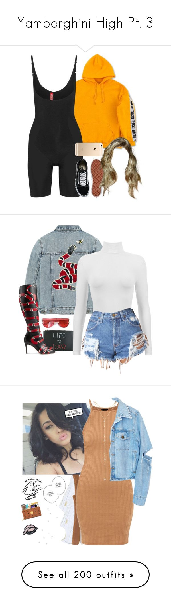 """""""Yamborghini High Pt. 3"""" by rosegoldpersian ❤ liked on Polyvore featuring SPANX, Vans, Gucci, Dukes, Tnemnroda, gucci, Puma, Fragments, Garrett Leight and Yves Saint Laurent"""
