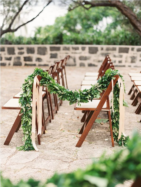 Beautiful Shot Of This Maile Lei On Our Dark Wood Folding Chairs!