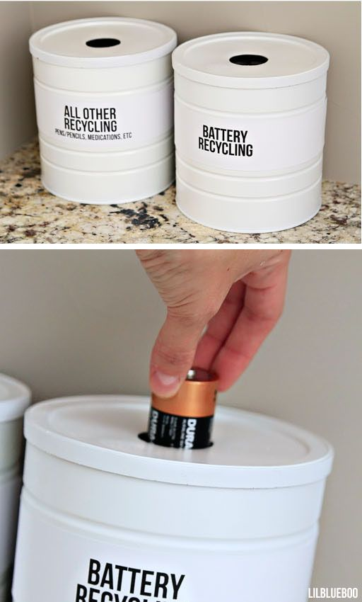 recycling storage for batteries, etc made from coffee cans - could store on dryer. via lilblueboo.com