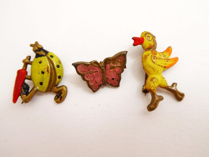 3 charming vintage kids brooches circa 1940