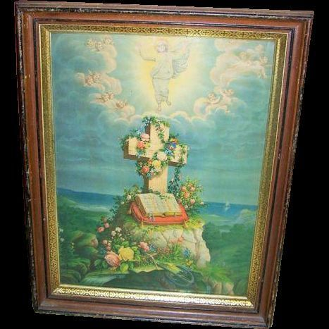 Large Framed Religious Art Print The Ascension Bible Cross $95.00 CAD