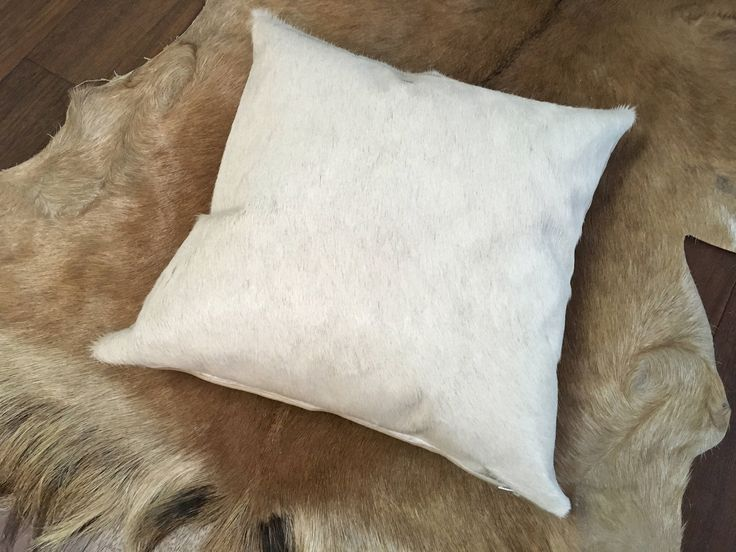 """New 16"""" real hair on cowhide pillow in natural white - FREE SHIPPING in USA and Canada. http://etsy.me/2oipLOT #housewares #homedecor #white #housewarming #entryway #gauchocollection #cowhide #western #cushion"""