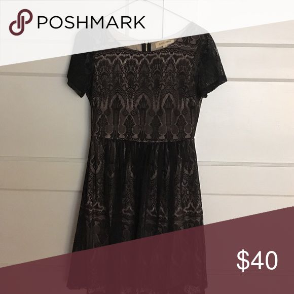 Event dress Nude lining, black lace vintage look black swan  Dresses