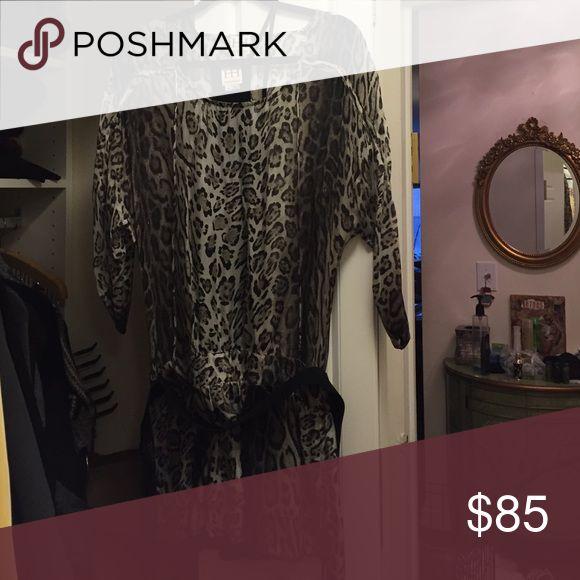 Mini hobo chic dress Black/white/grey leopard print Haute Hippie Dresses Mini