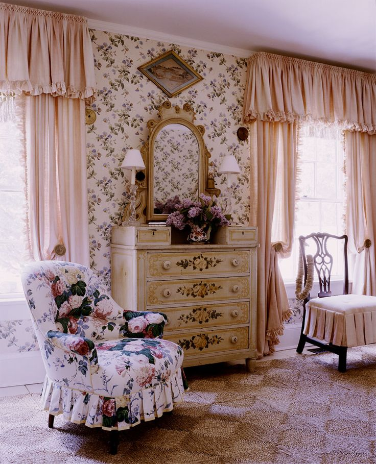 Floral Chintz Chair And Sisal In Pink Country Bedroom