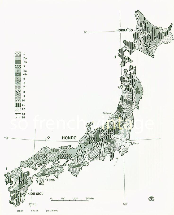 1970 Carte Géologique du Japon Géomorphologie de la boutique sofrenchvintage sur Etsy