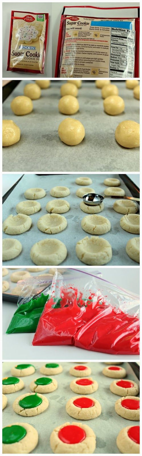 Christmas Thumbprint Cookies - I'd use my grandma's sugar cookie recipe, not premade stuff.