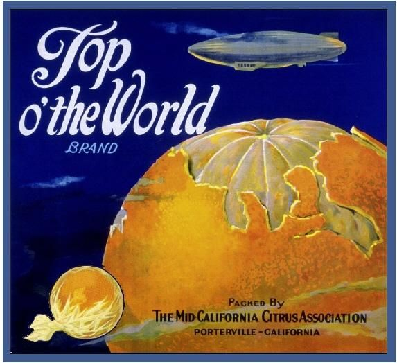 Porterville, Tulare County Top O'The World Orange Citrus Fruit Crate Label Advertising Art Print