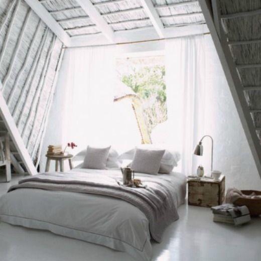 Via Birch + Bird: Bedrooms Decoration, Beds, Attic Bedrooms, Bedrooms Design, Interiors Design, White Rooms, Attic Rooms, White Bedrooms, Bedrooms Idea