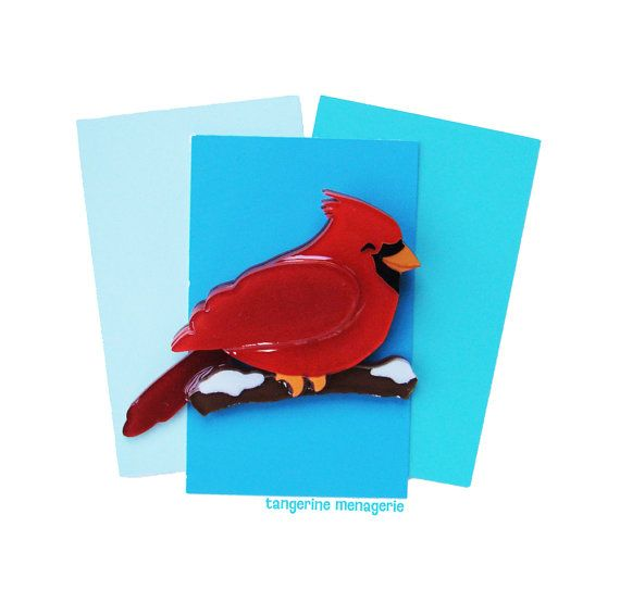 Happy Holiday Cardinal Vintage-Inspired by TangerineMenagerie