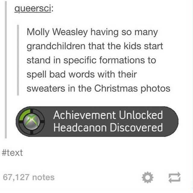 Molly Weasley and her self made christmas sweaters. xD