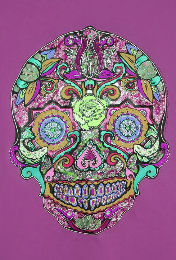 ''Karmic Chi Love Thing Sugar Skull Purple'' by Lynsey Morgann Laurence & Isabella Cammareri (copy), £24.50