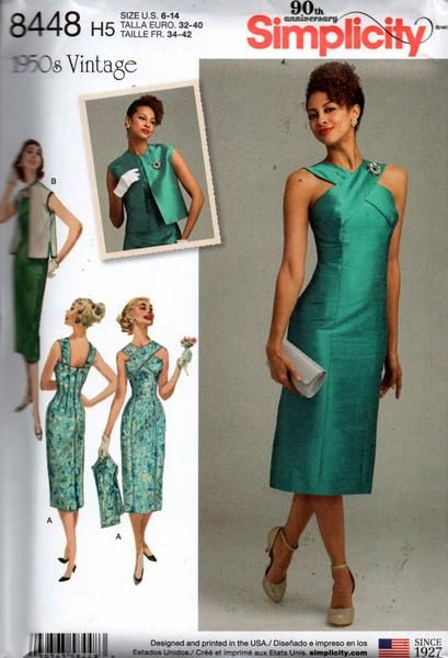 simplicity 8448 reissue 50s dress and vest