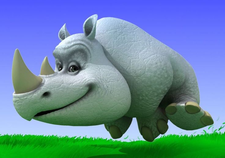 3D illustration of rhino for rhinocort australia
