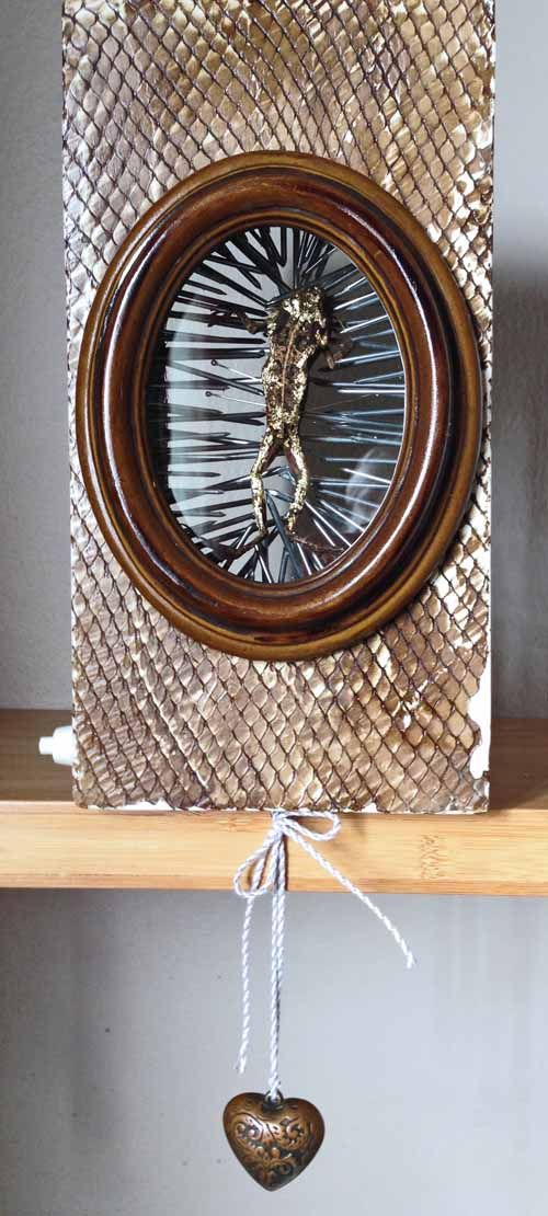 Joan Martin, Turning Point, mixed media assemblage, 25x13x12cm - an assemblage exploring the transient nature of life