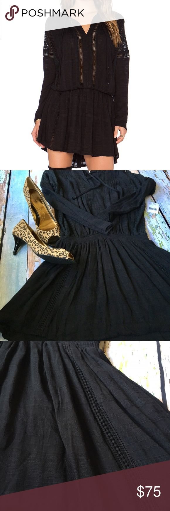 BNWT Free People Nomad Peasant Dress Perfect dress! Peasant style with cinched waist and Crochet detail throughout. Festival dress! BNWT lined throughout except sleeves. Free People Dresses Long Sleeve