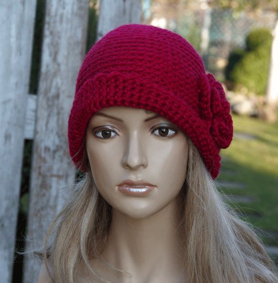 Crochet hat Womens trendy hat Red Rose Handmade Cloche by Degra2