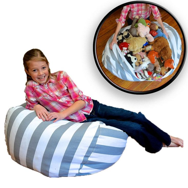 Extra Large Stuffed Animal Storage Bean Bag Chair - Grey / White Strip | Creative QT