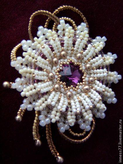 Брошь Хризантема - брошь цветок,ручная авторская работа,хризантема,кристаллы сваровски