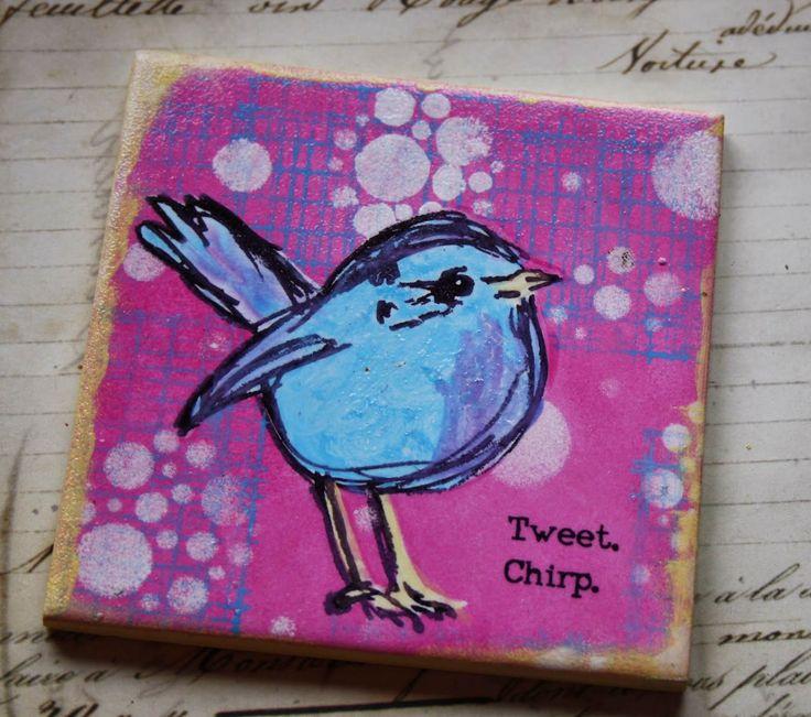 Dina Wakley bird stamped on ceramic tile. Tweet Tweet by Carol Fox | That's Blogging Crafty!