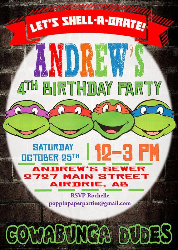 TMNT Ninja Turtle Invitation TMNT Ninja by PoppinPaperParties