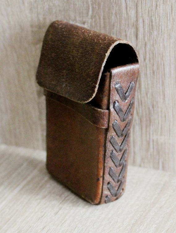 Vintage Leather Cigarette Case  Handmade Distressed Case by NarMag