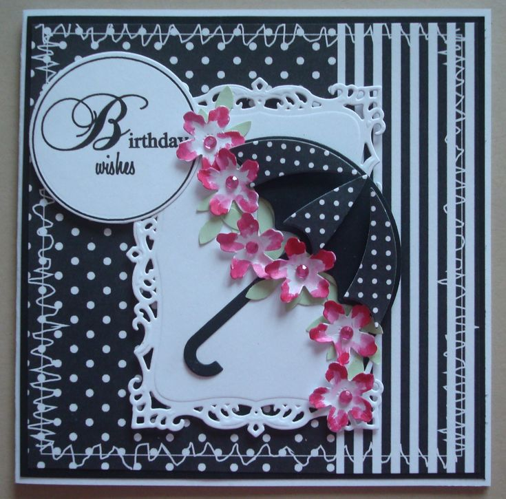 G096 Hand made Birthday card using MFT Umbrella die. Black variation