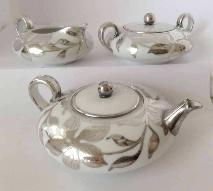 rare vintage Count Thun squaty silver overlay  small tea pot set with sugar and creamer ceramic by antiquesnoopdog on Etsy