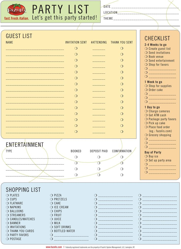 Let's get the party started! Printable party planning list. #Fazolis #party