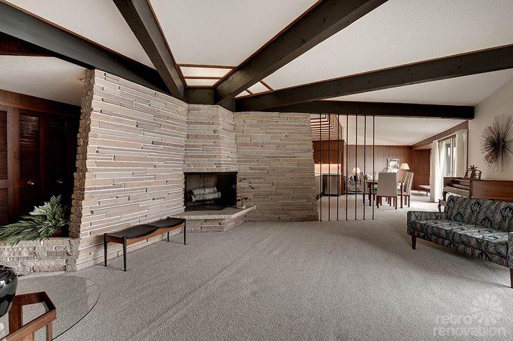 mid century modern fireplace