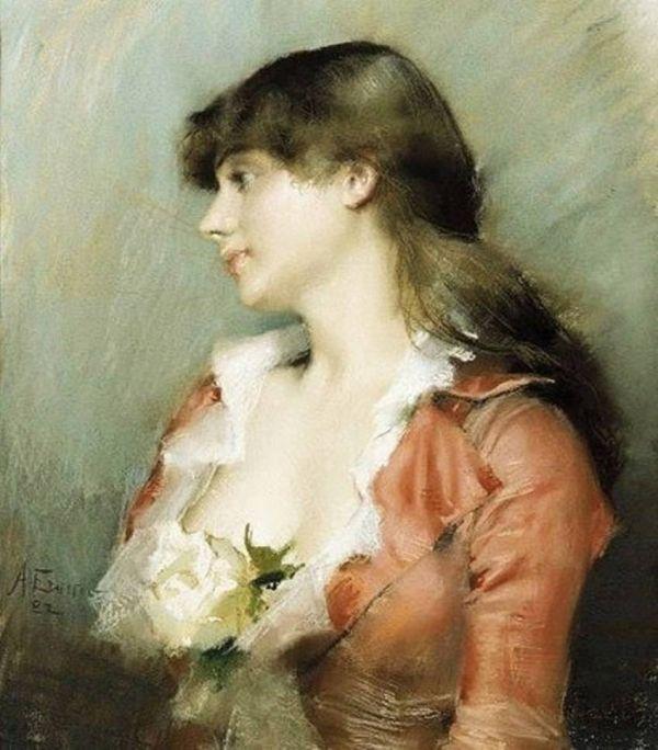 Albert Edelfelt, paintings - Nuori nainen sivulta nähtynä