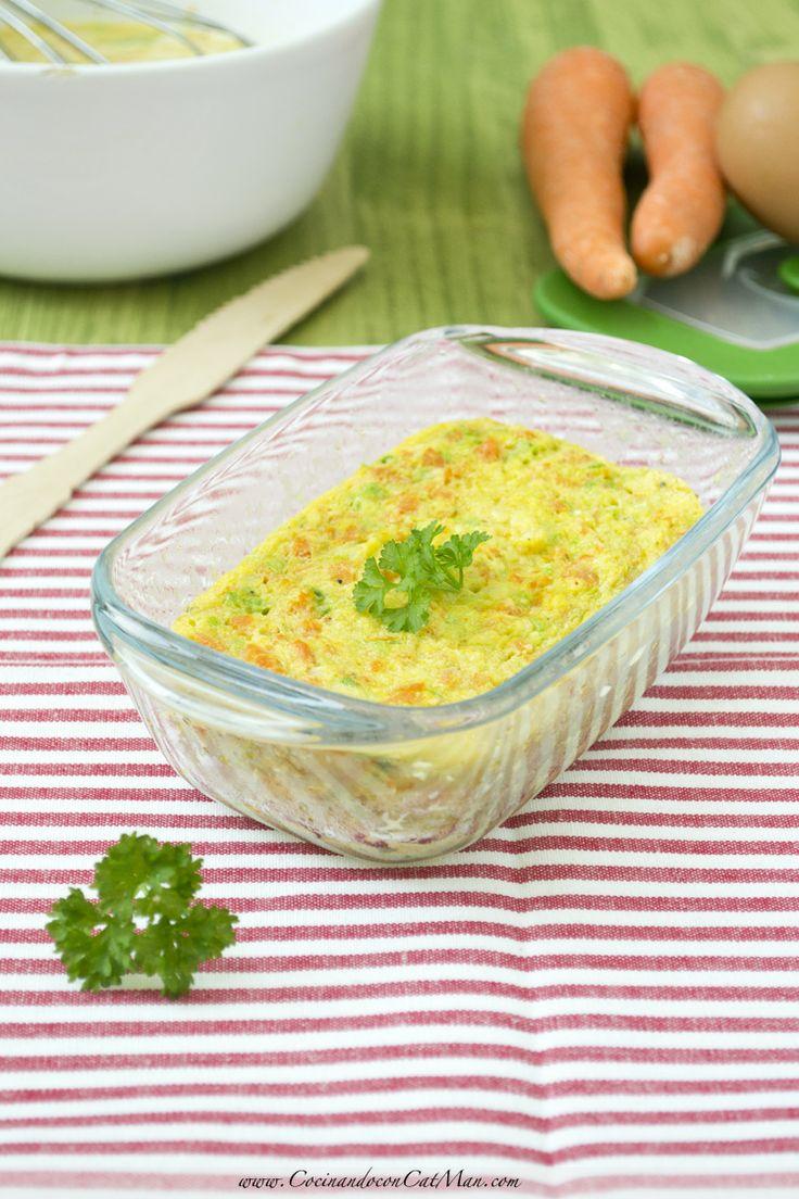Flan de zanahorias y calabacín. Receta microondas | CocinandoconCatMan.com