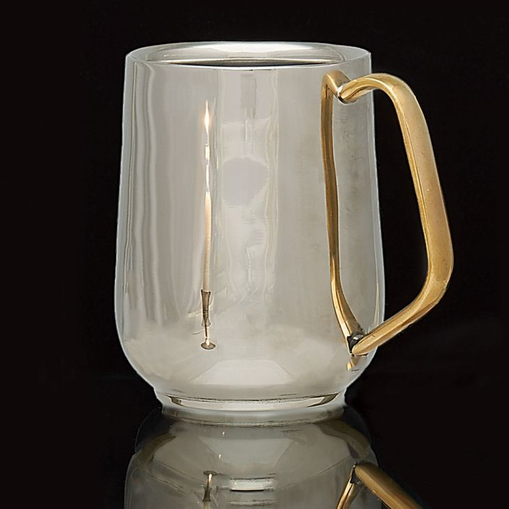 Garrett Wade Hollow-Wall Stainless Mug - The solid brass handle is a touch of style