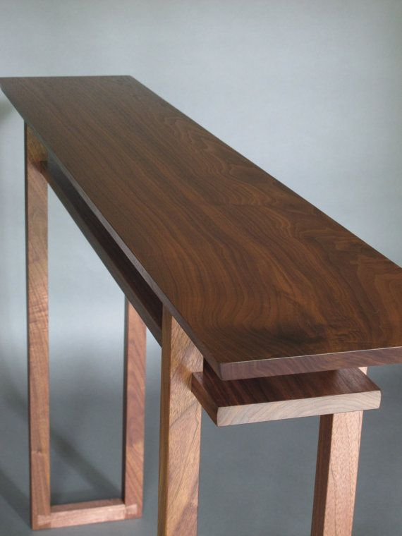 Narrow Hallway Table for Entry Console Table-Handmade wood furniture by Mokuzai Furniture