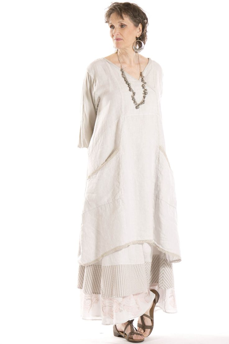 Euphoria lace trimmed linen tunic unprinted blue fish for Blue fish clothing