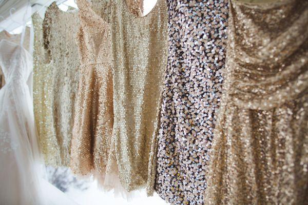 sequin bridesmaids dresses // photo by Lauren Fair