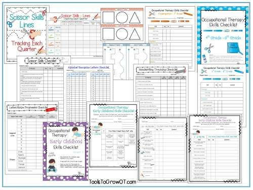 Occupational Therapy Assessment Checklists (School Based & Early Intervention Skills Checklists), Documentation Forms, and Performance Resources. www.toolstogrowot.com