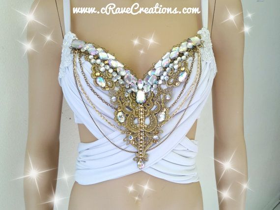 White and Gold and Glam Design Custom Bra von cRaveCreationsPLUR