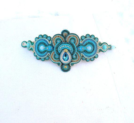 Unique Statement Soutache Bracelet - Deep Teal and Turquoise Cuff Bracelet , Handmade Soutac he Jewelry , Statement Handmade Bracelet This