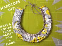 Collar imperdibles+abalorios