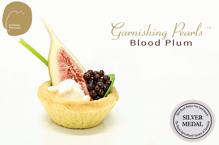Garnishing Pearls - Blood Plum in a tartlet with Persian Fetta and fresh fig.