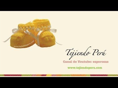 zapatitos con detalle en hilo para bebe - Tejiendo Perú