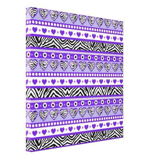 Purple home decor is absolutely adorable no matter if you like pale purple, lavender, lilac, magenta or violet purple home decor.  A purple themed home is easy to achieve by using purple wall art, purple throw pillows, purple throw blankets and purple area rugs.  Use this along with other purple wall art to create a relaxing, funky home decor theme #purple  Purple black & white abstract zebra hearts dots canvas print