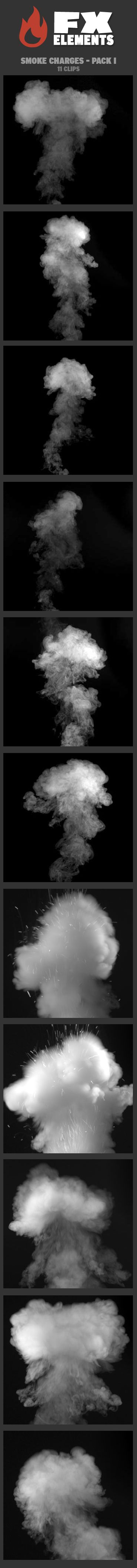 Smoke Charges - Pack I includes 11 FX clips. Smoke charges work well for smoke releases, or for explosions, especially when paired with pyro charges. They can also be easily inverted for black smoke. • All clips delivered with a separate corresponding alpha file • 5 clips horizontal 2K resolution (2048 x 1152) • 6 clips vertical 2K resolution (1152 x 2048)   $49   #VFX #FxElements